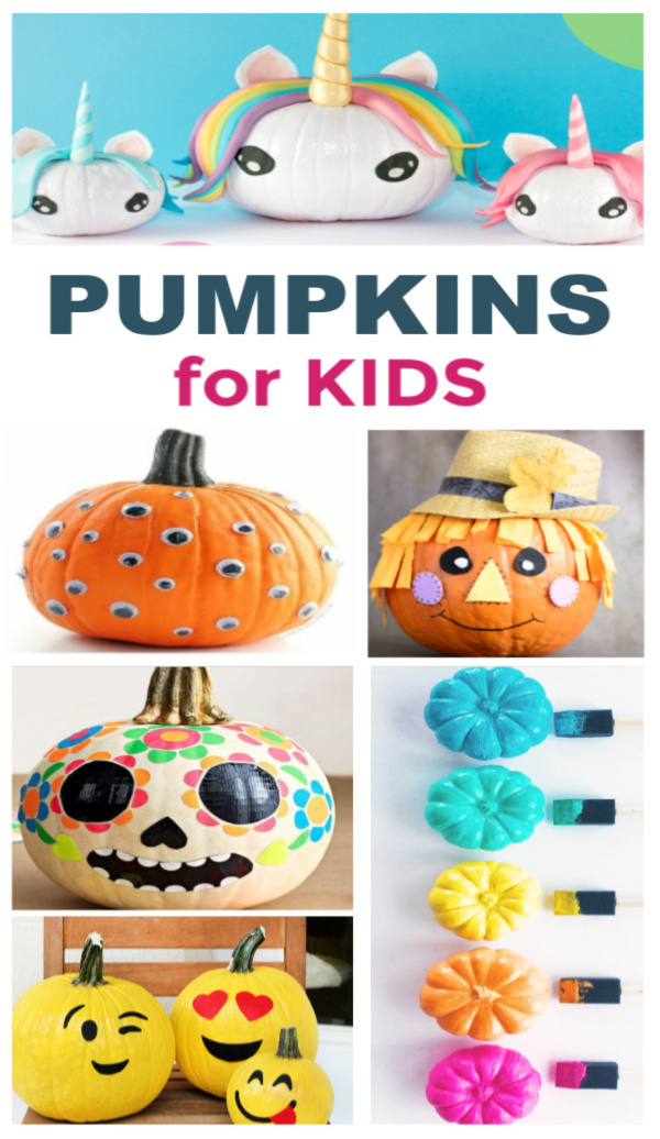 50+ pumpkin decorating ideas for kids that don't require carving! #nocarvepumpkins #pumpkindecoratingideas #kidspumpkinpainting #growingajeweledrose #fallcrafts