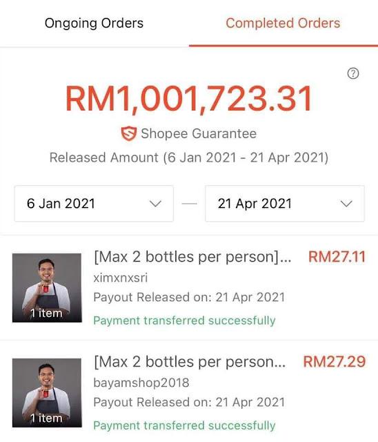 Jualan Sambal di Shopee melebihi RM1 juta dalam tempoh lebih 3 bulan