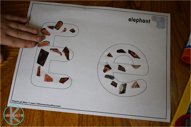 e is for ear cut and paste activity for preschool, prek, kindergarten