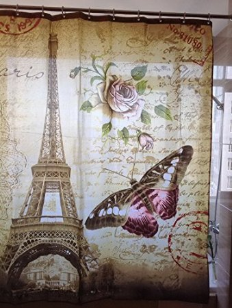 Total Fab Fabric Shower Curtains With French Script