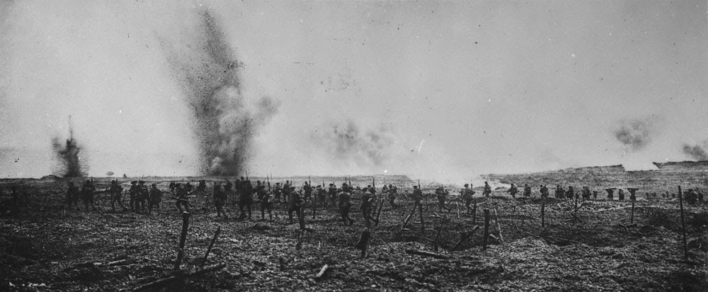Canadians advancing through German wire entanglements Vimy Ridge