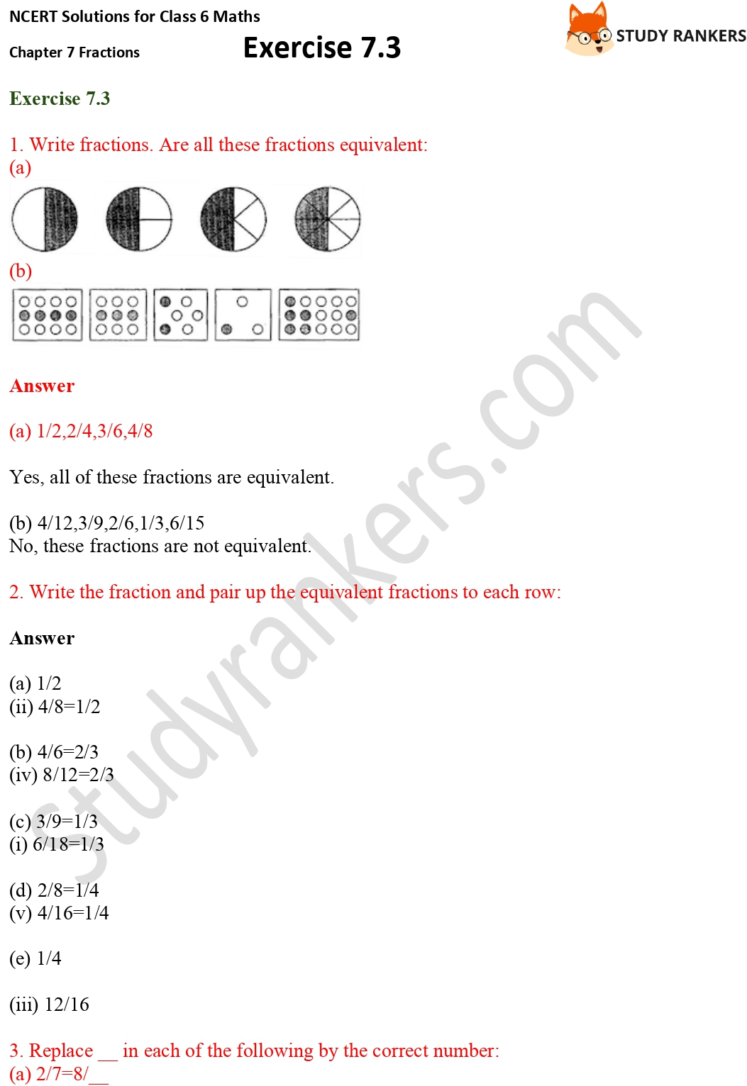 NCERT Solutions for Class 6 Maths Chapter 7 Fractions Exercise 7.3 Part 1