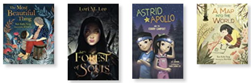 Book covers The Most Beautiful Thing, Forest of Souls, Astrid & Apollo and the Starry Campout, and A Map Into the World