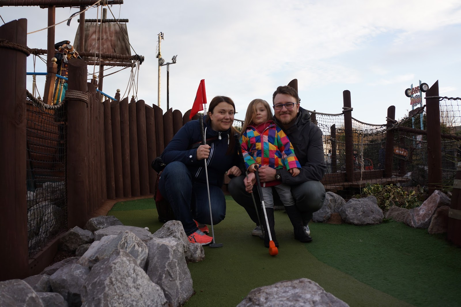 family picture at butlins minehead playing mini golf
