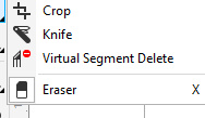crop, knife, virtual segment delete, eraser