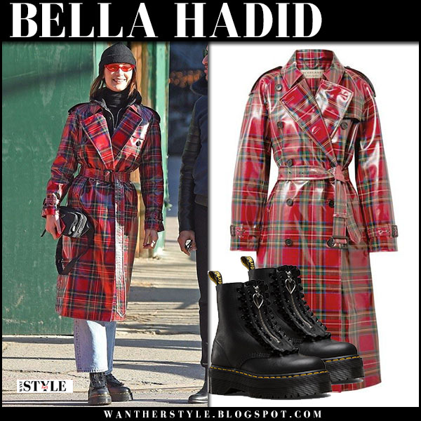 Bella Hadid in red check laminated trench coat burberry street style january 31
