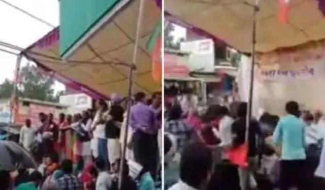 BJP के कार्यक्रम के दौरान टूटा मंच, पूर्व गृह मंत्री और सांसद गिरे - newsonfloor.com
