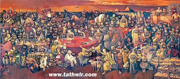 لوحة مشاهير العالم عبر التاريخ  مع أسمائهم