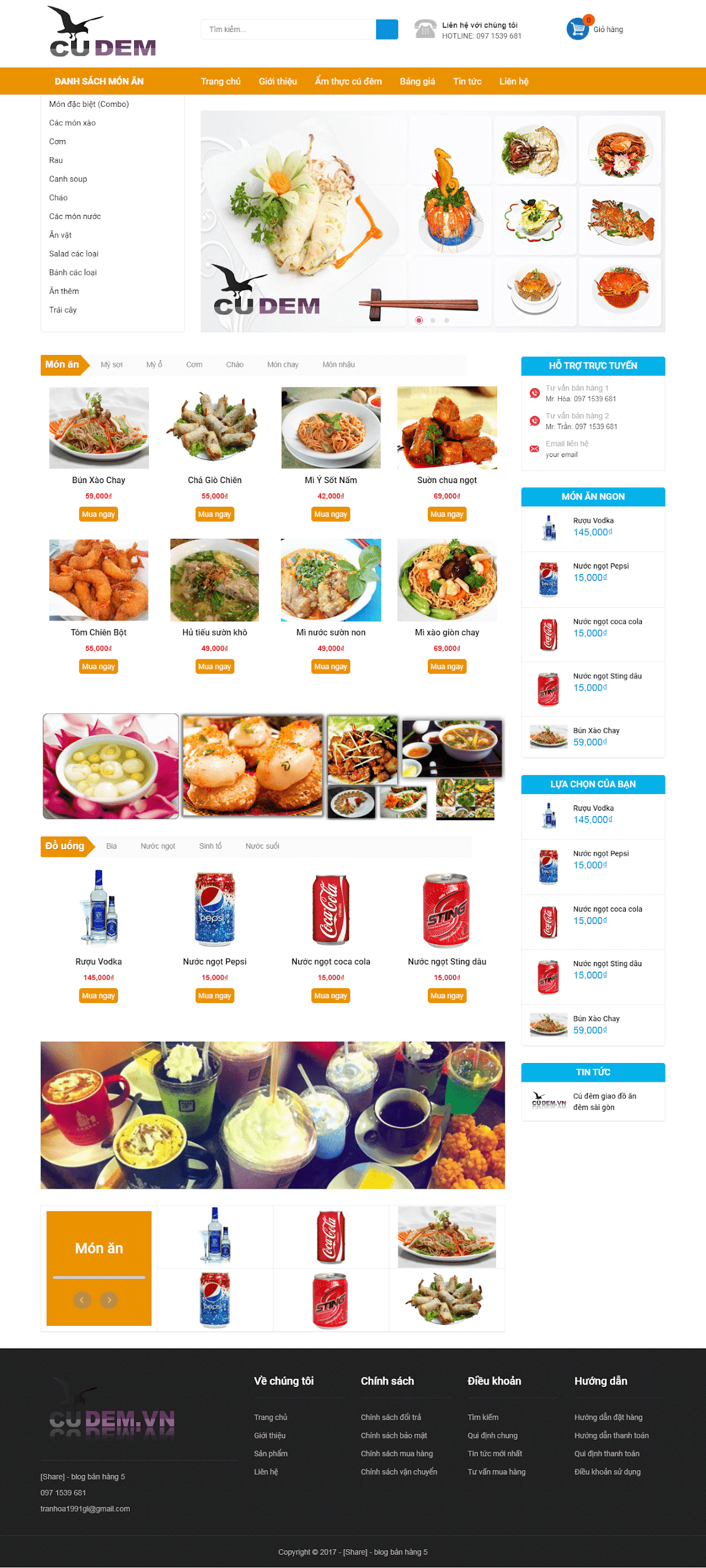 Template blogspot kinh doanh đồ ăn vặt