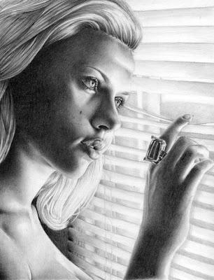 Retrato o dibujo a lapiz de scarlett johansson