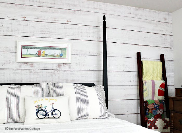 Easy Faux Shiplap featured at Talk of the Town