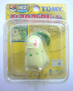 Chikorita Pokemon Figure Tomy Monster Collection yellow package series
