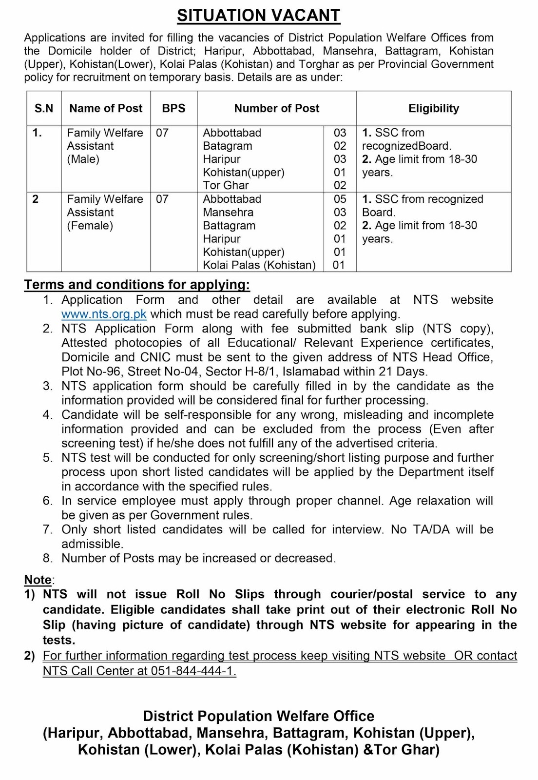 NTS Jobs in Population Welfare Department