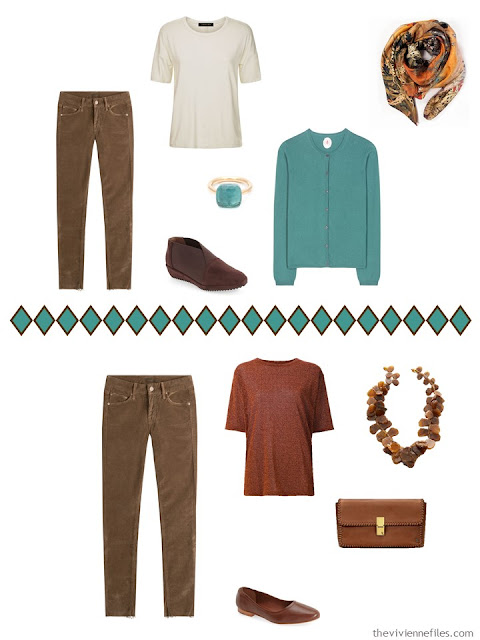 brown corduroy pants worn 2 different ways