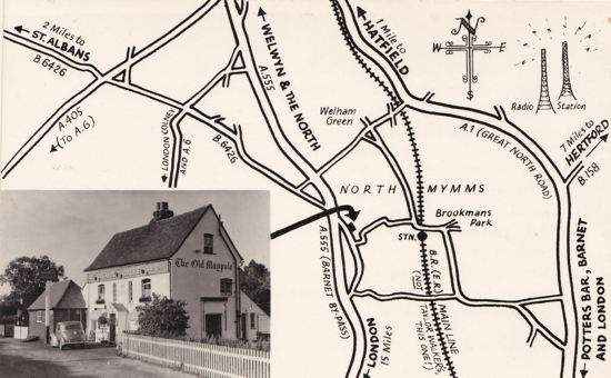 Photograph and sketch of an advertising card for The Old Maypole Water End. The Barnet By-pass became the A1 road in 1954