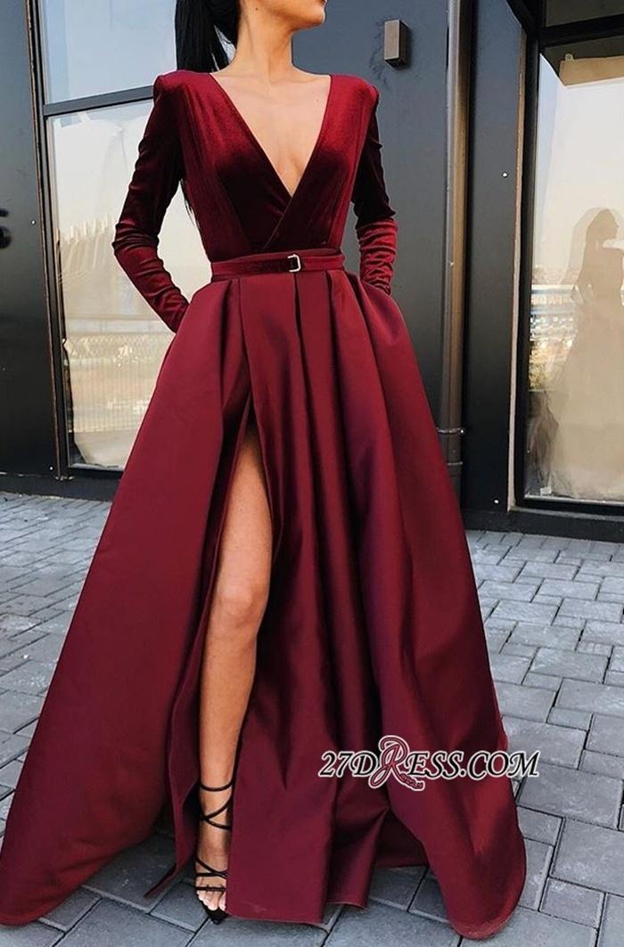 https://www.27dress.com/p/deep-v-neck-long-sleeves-burgundy-front-split-evening-gown-109071.html