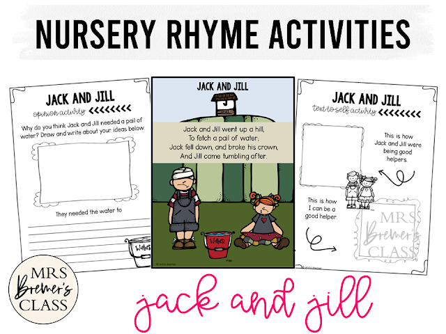 Jack and Jill activities unit with literacy and math Common Core aligned companion activities for Nursery Rhymes in Kindergarten