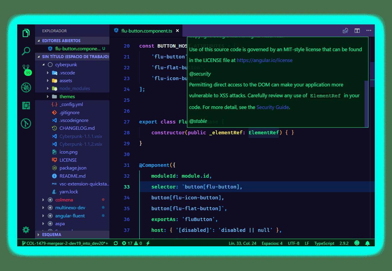 cyberPunk theme visual studio code