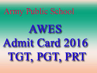AWES Army Public School Admit Card 2016
