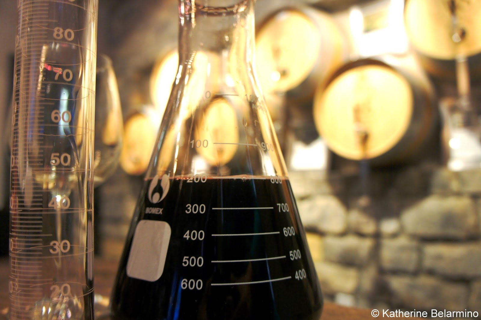 Blending Wine in Beakers at Wente's Winemakers Studio Livermore California