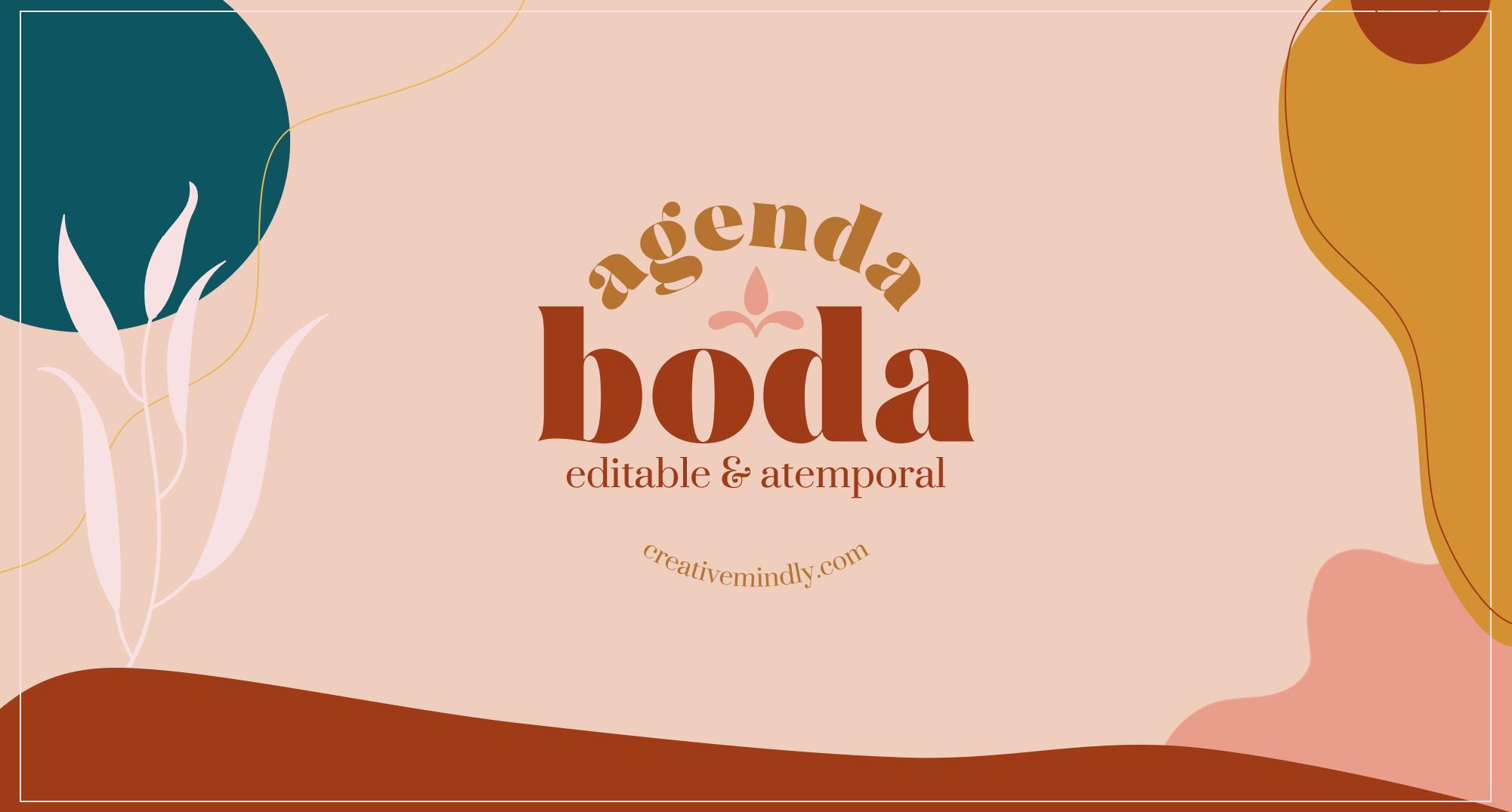 AGENDA DE BODA IMPRIMIBLE BONITA