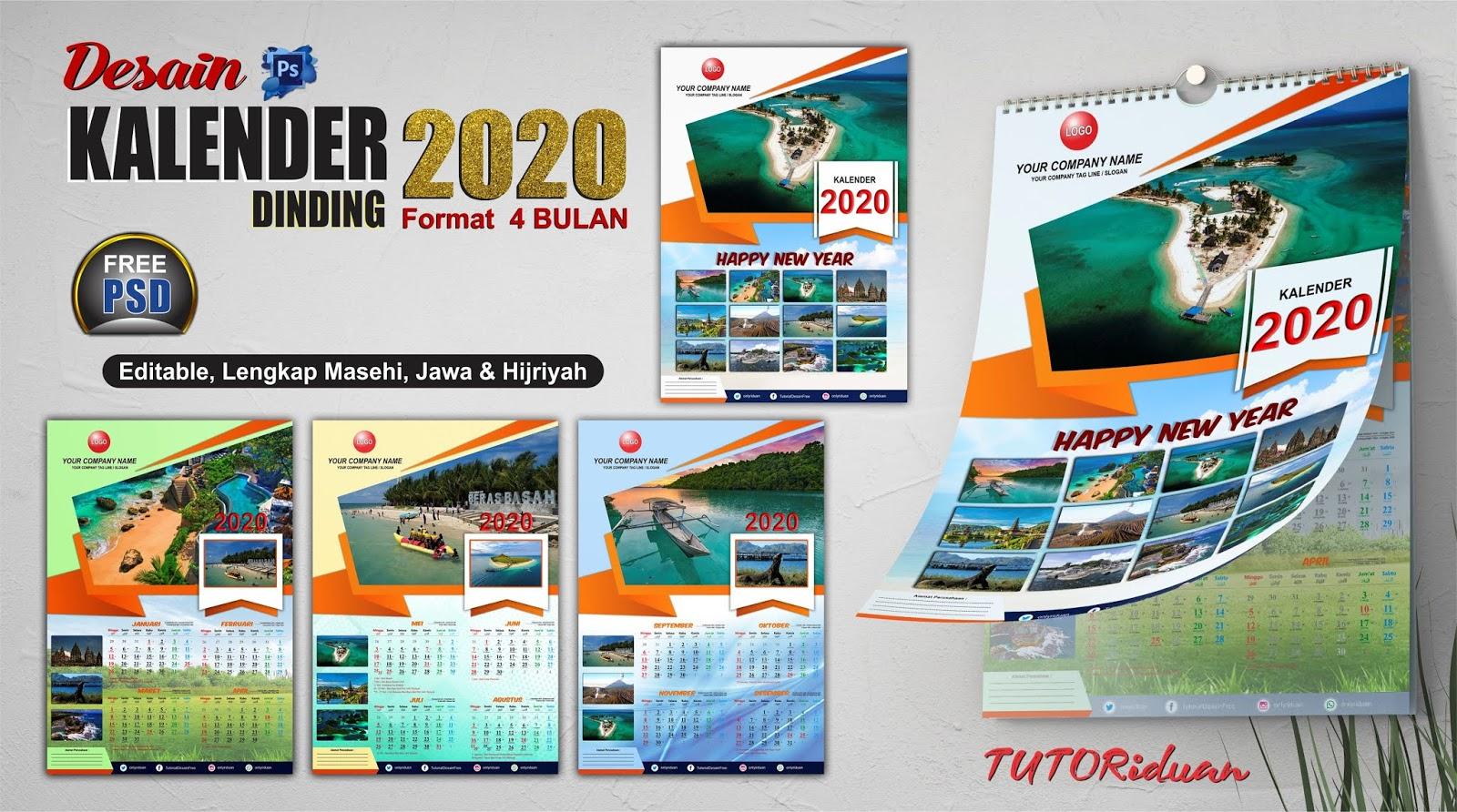 Desain Kalender Dinding 2020 Format 4 Bulanan dengan ...