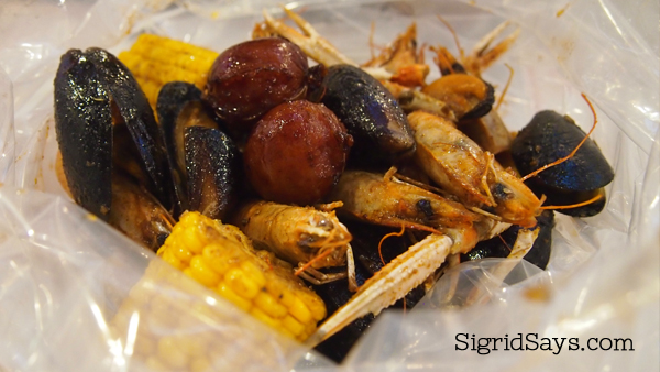 Assorted seafood in a bag at Choobi Choobi Bacolod