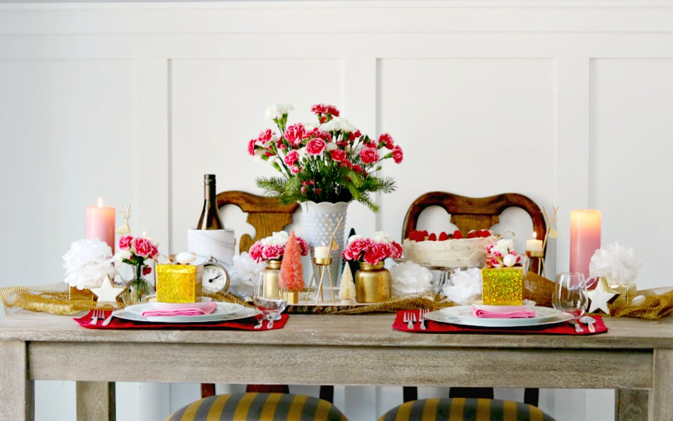 tablescape, modern, cottage, decor, decorating, pink, white, gold, athomewithjemma