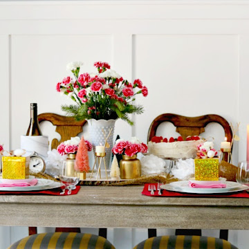 Modern Cottage Pink, Gold and White New Year's Tablescape