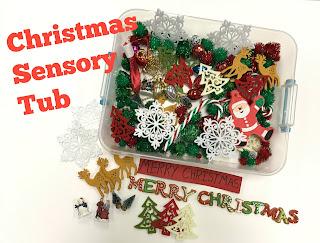 Christmas Sensory Tub, www.JustTeachy.com