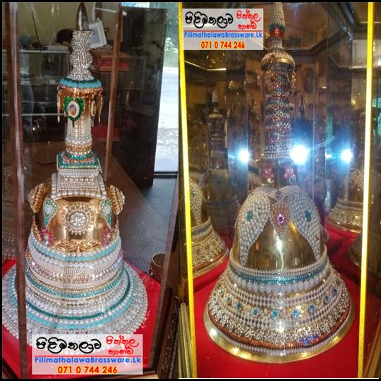 Pearls Decorated brass Karadu (Pagoda/Chaithya) - පබලු යොදා සරසන ලද කරඩු වහන්සේ