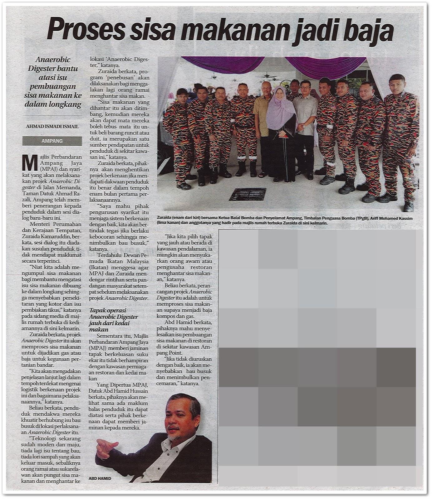 Proses sisa makanan jadi baja - Keratan akhbar Sinar Harian 8 Jun 2019