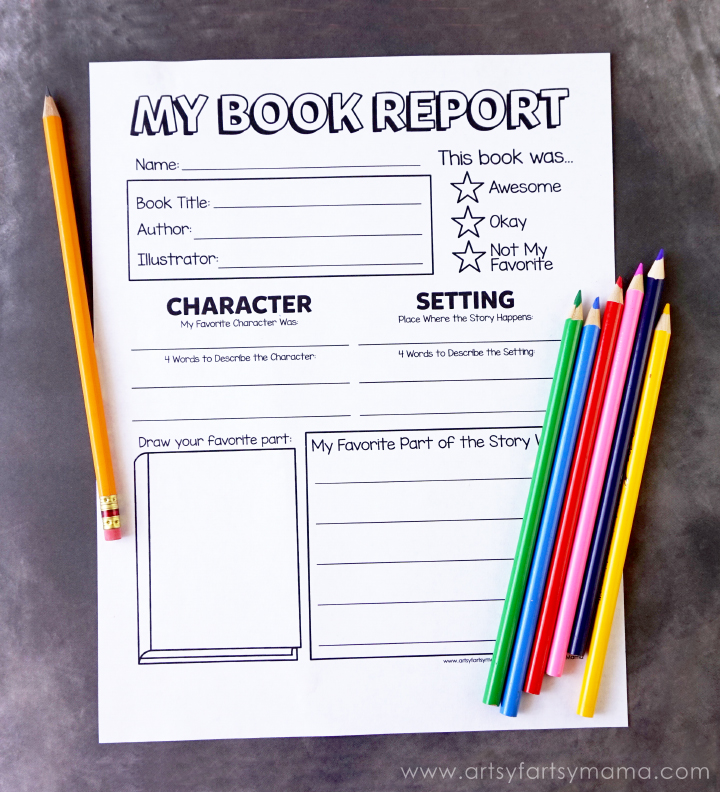 Free Printable Book Report Form  ArtsyFartsy Mama