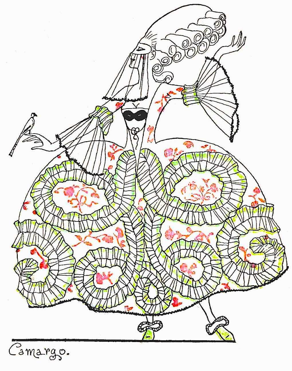 a 1922 fashion illustration, masquerade woman