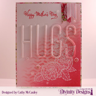 Divinity Designs Stamp Set: Daughter's Best Friend, Paper Collection: Pretty Pink Peonies, Mixed Media Stencil: Arrows, Custom Dies: Long & Lean Letters, Pierced Rectangles, Treat Tags