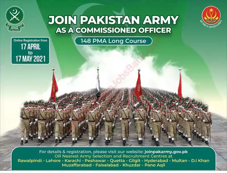 New Jobs in Pakistan Join Pakistan Army as Commissioned Officer Jobs 2021 through 148 PMA Long Course | Apply Online
