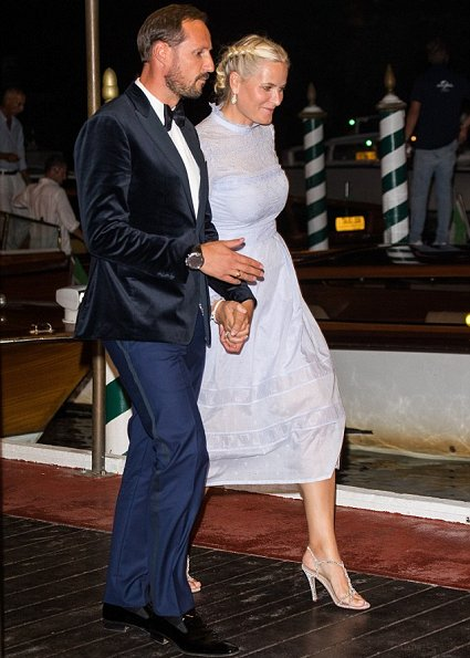 At the Venice Film Festival, Crown Princess Mette Marit wore Vilshenko Lavender Midi Dress