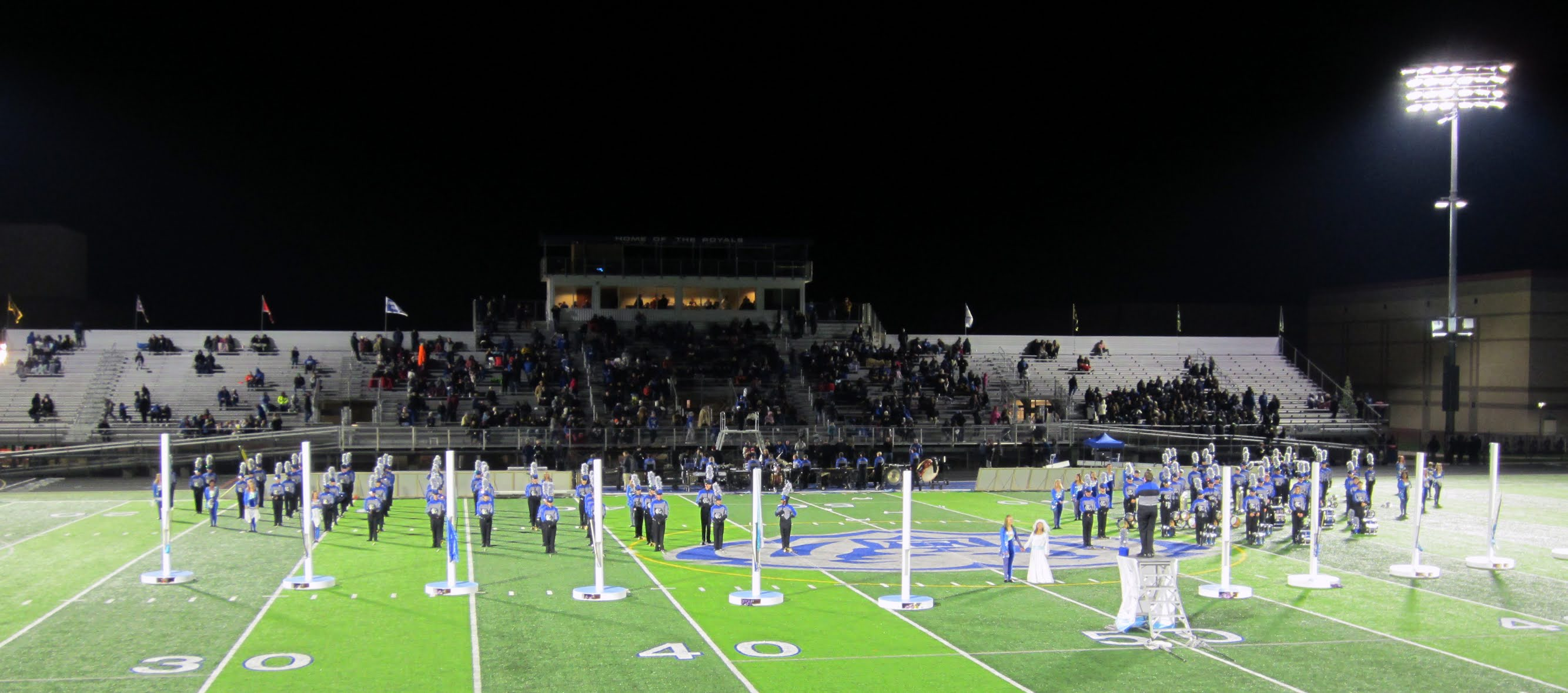 Hamilton Southeastern High School's marching band performs a half time show