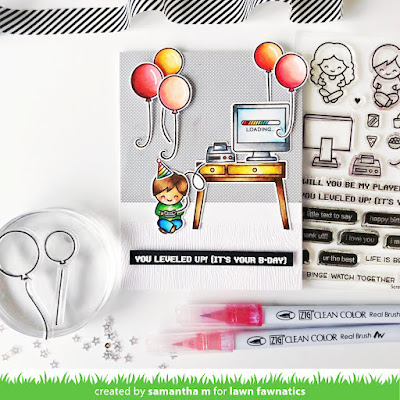 You Leveled Up Birthday Card by Samantha Mann for Lawn Fawnatics Challenge, Lawn Fawn, Birthday, Cards, Card Making, Handmade Cards, Scene, Video Games, #lawnfawn #lawnfawnatics #lawnfawnaticschallenge #birthday #birthdaycard #videogame #cards #diycard