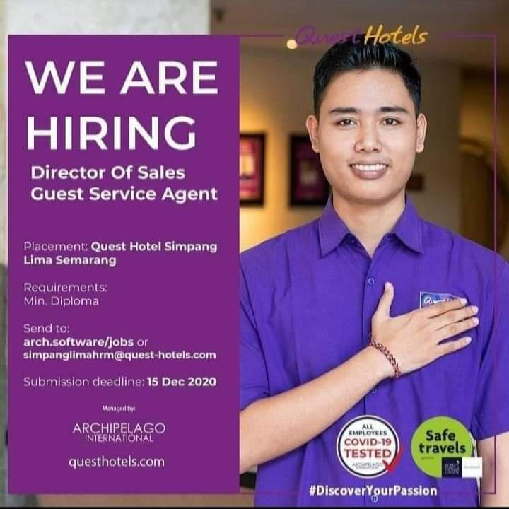 Lowongan Quest Hotels Director Of Sales Guest Service Agent