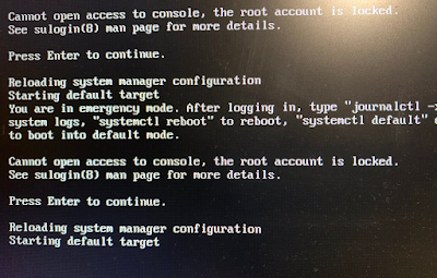 Cannot open access to console, the root account is locked.