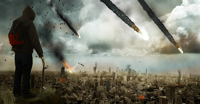 Ciudad destruida por lluvia de meteoritos