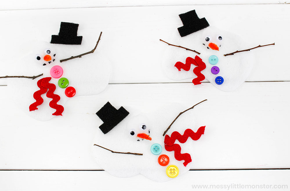 Melting snowman craft for preschoolers. Easy winter crafts for kids.