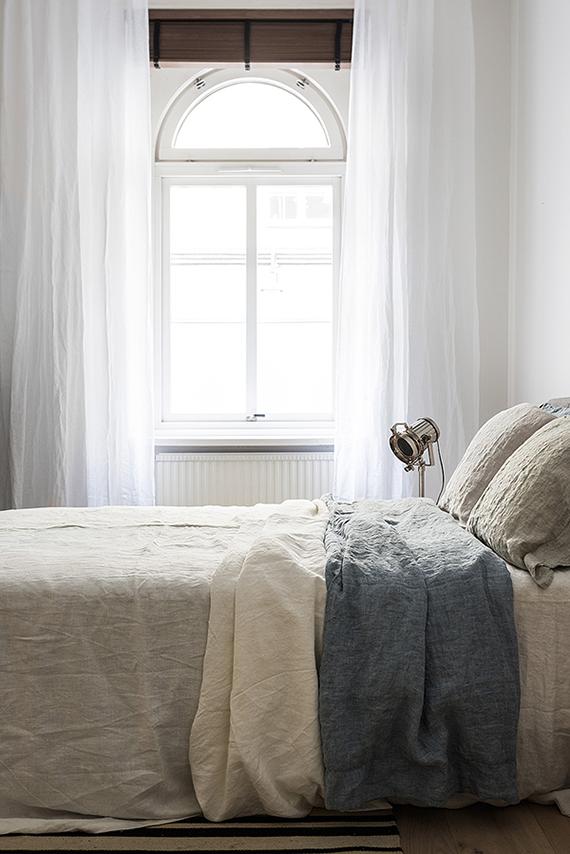Handmade linen bedding. Image via Fantastic Frank