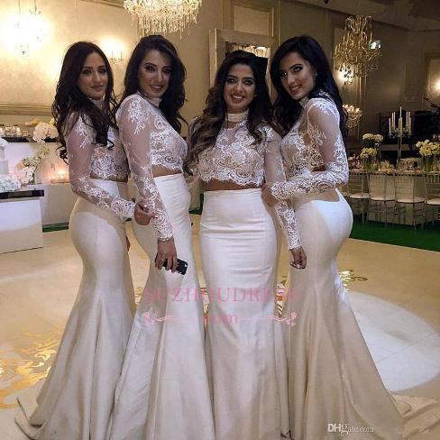 Cheap High-Neck Mermaid Two-Piece Lace Long-Sleeve Bridesmaid Dress-Factory price: US$ 117