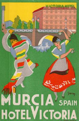 Tarjeta postal, hotel Victoria, Murcia, años 20