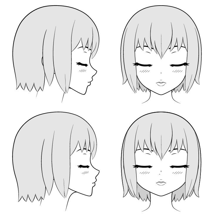Anime ciuman bibir dan gambar wajah dalam berbagai pandangan