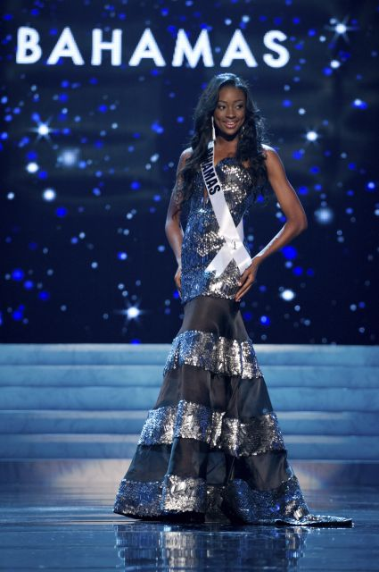 31c71cd76392 Miss Bahamas Celeste Marshall: The tall and very beautiful Celeste wore a  silver metallic and black organza gown--fit-to-flare shape (a favorite of  these ...