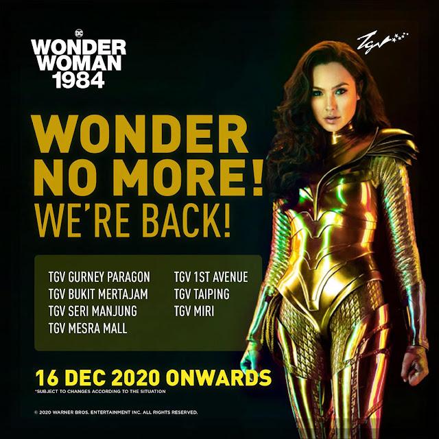 Senarai Lokasi Pawagam (GSC, TGV, MBO) Tayang Wonder Women 1984