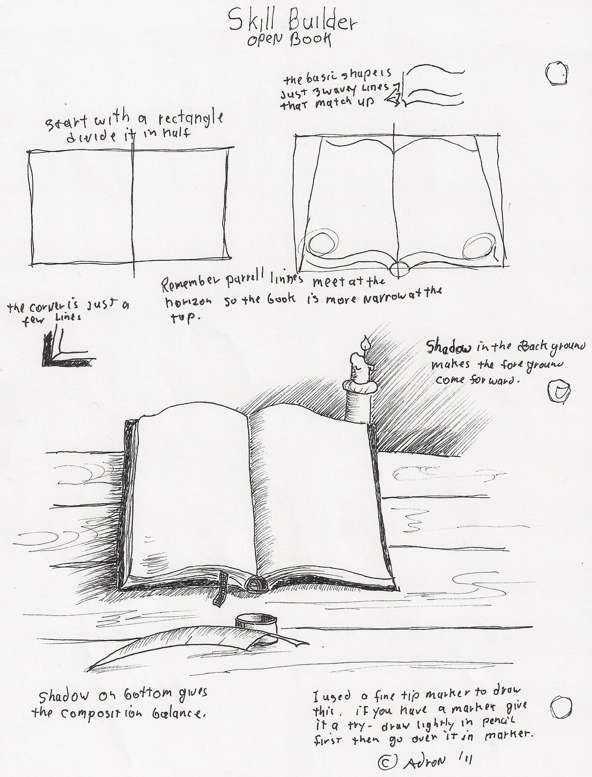 Adron S Art Lesson Plans How To Draw An Open Book With